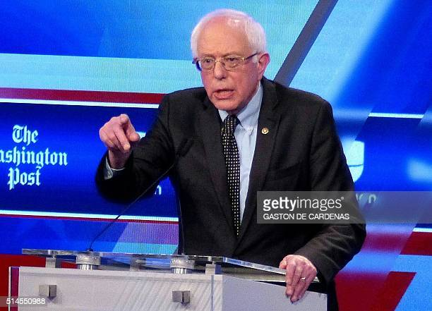 Democratic presidential candidate Bernie Sanders participates in the democratic presidential debate at Miami Dade College in Miami on March 9 2016 /...
