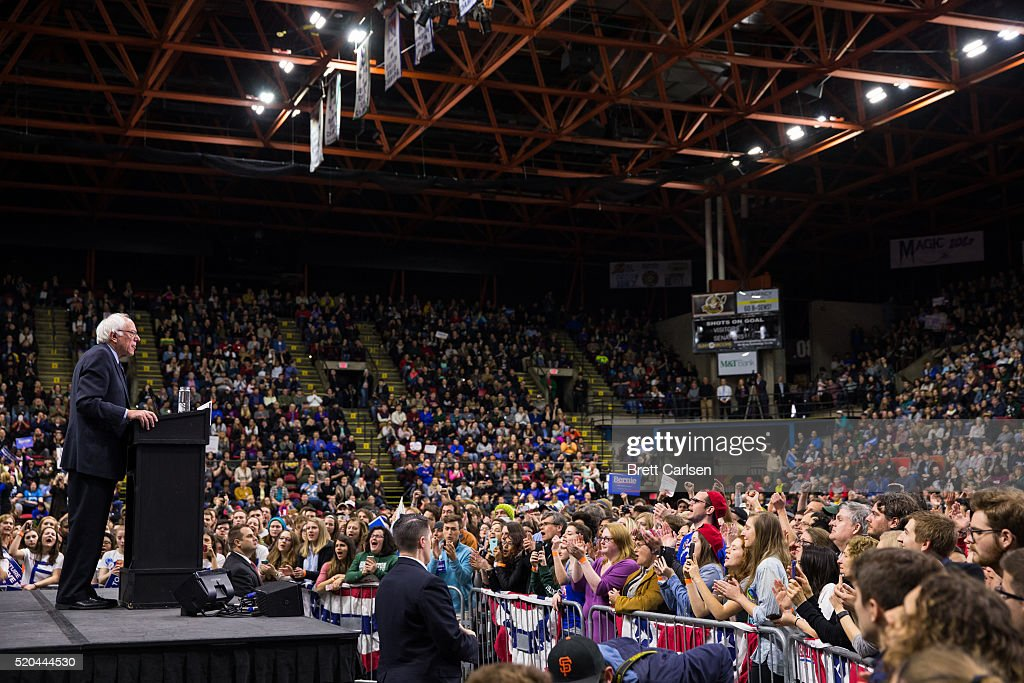 Democratic presidential candidate Bernie Sanders speaks at a rally for his campaign on April 11, 2016 in Binghamton, New York.