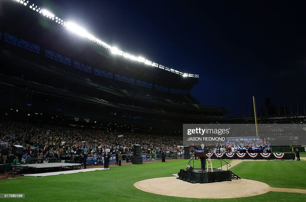 Democratic presidential candidate Bernie Sanders speaks during a rally at Safeco Field in Seattle on March 25 2016 / AFP / Jason Redmond