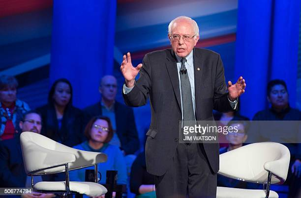 Democratic presidential candidate Bernie Sanders speaks during the CNN Town Hall at Drake University in Des Moines Iowa January 25 ahead of the Iowa...