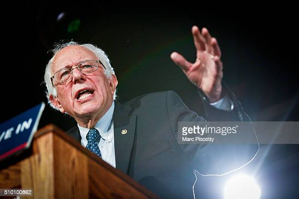 Democratic Presidential candidate Bernie Sanders speaks to supporters at a rally on February 13 2016 in Denver Colorado Sanders spoke about keeping...
