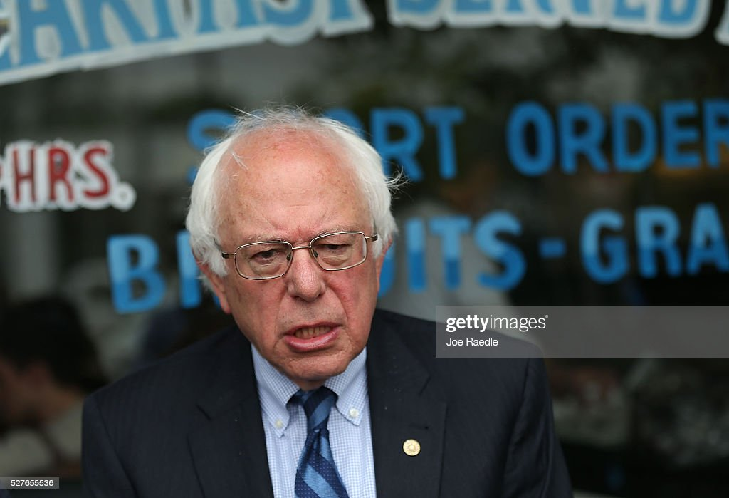 Democratic presidential candidate <a gi-track='captionPersonalityLinkClicked' href=/galleries/search?phrase=Bernie+Sanders&family=editorial&specificpeople=2908340 ng-click='$event.stopPropagation()'>Bernie Sanders</a> (D-VT) speaks to the media during a stop for breakfast at Peppy Grill on May 3, 2016 in Indianapolis, Indiana. Indiana voters went to the polls today as they decide who to cast their ballot for during the states primary election.