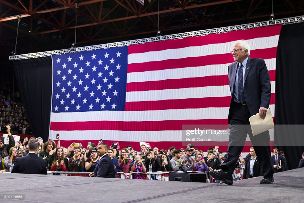 Democratic presidential candidate Bernie Sanders walks on stage before speaking at a rally on April 11, 2016 in Binghamton, New York. The New York Democratic primary is scheduled for April 19th.