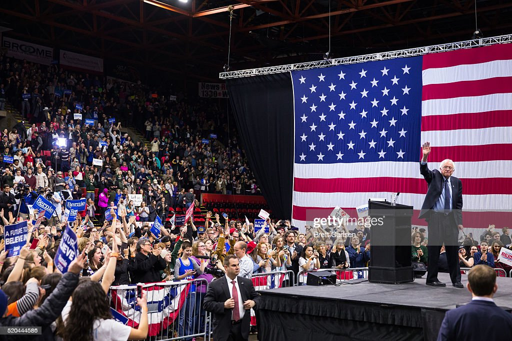 Democratic presidential candidate Bernie Sanders waves to the crowd after speaking at a rally for his presidential campaign on April 11, 2016 in Binghamton, New York. The New York Democratic primary is scheduled for April 19th.