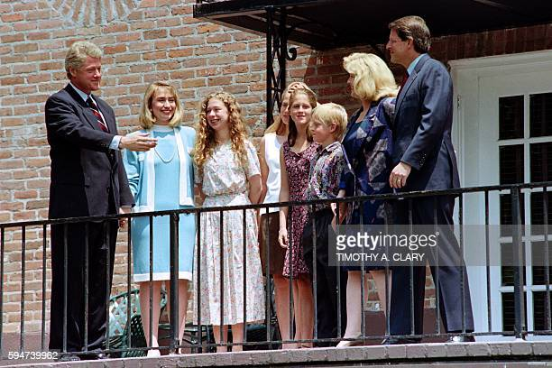Democratic Presidential candidate Bill Clinton and running mate Al Gore flanked by their family wife Hillary and Tipper children Chelsea Clinton...
