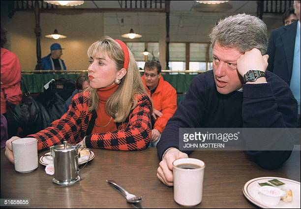 Democratic presidential candidate Bill Clinton in a picture dated 16 February 1992 in Bedford and his wife Hillary relax during campaign tour