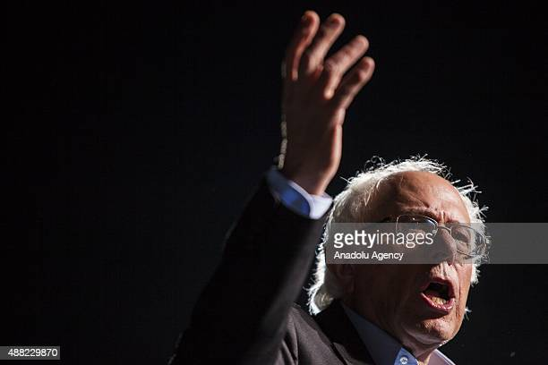 Democratic Presidential Candidate Congressman Bernie Sanders speaks during a campaign rally in Manassas USA on September 14 2015