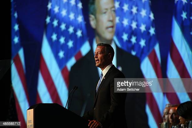Democratic Presidential candidate former Maryland Gov Martin O'Malley speaks at the Democratic National Committee summer meeting on August 28 2015 in...