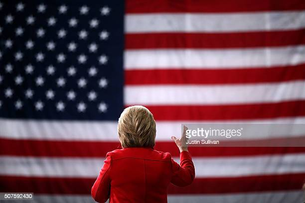 Democratic presidential candidate former Secretary of State Hillary Clinton speaks during a 'get out the caucus' event at Iowa State University on...