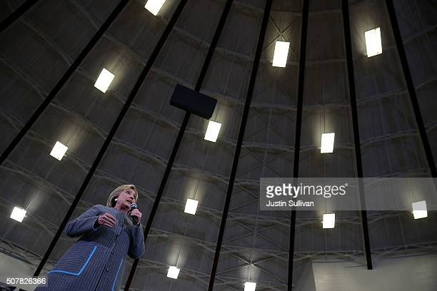 Democratic presidential candidate former Secretary of State Hillary Clinton speaks during a 'get out to caucus' event at Abraham Lincoln High School...