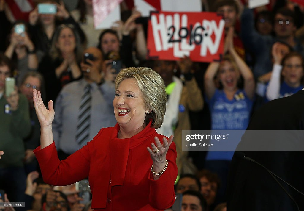 Democratic presidential candidate former Secretary of State Hillary Clinton greets supporters during her caucus night event in the Olmsted Center at Drake University on February 1, 2016 in Des Moines, Iowa. Clinton is competing with Sen. Bernie Sanders in the Iowa Democratic caucus.