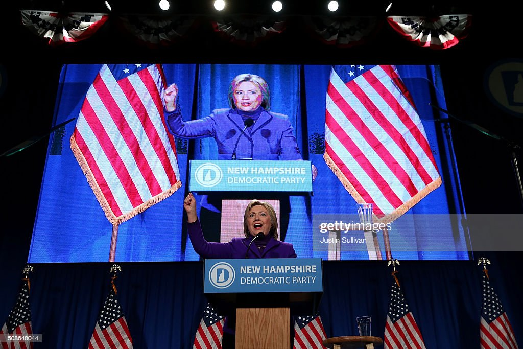 Democratic presidential candidate former Secretary of State <a gi-track='captionPersonalityLinkClicked' href=/galleries/search?phrase=Hillary+Clinton&family=editorial&specificpeople=76480 ng-click='$event.stopPropagation()'>Hillary Clinton</a> speaks at the 2016 McIntyre Shaheen 100 Club Celebration on February 5, 2016 in Manchester, New Hampshire. With less than one week to go before the New Hampshire primaries, <a gi-track='captionPersonalityLinkClicked' href=/galleries/search?phrase=Hillary+Clinton&family=editorial&specificpeople=76480 ng-click='$event.stopPropagation()'>Hillary Clinton</a> continues to campaign throughout the state.
