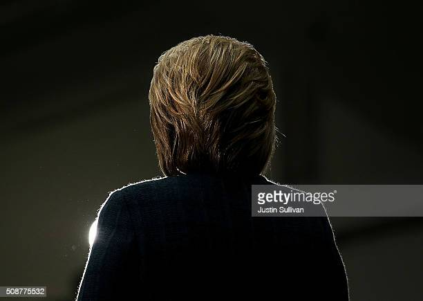 Democratic presidential candidate former Secretary of State Hillary Clinton speaks during a get out the vote organizing event at Rundlett Middle...