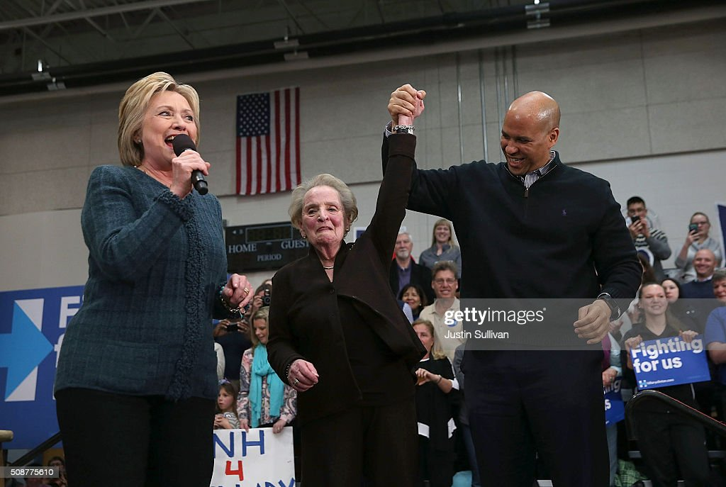 Democratic presidential candidate former Secretary of State Hillary Clinton, former Secretary of State Madeleine Albright and U.S. Sen. Cory Booker (D-NJ) participate in a get out the vote organizing event at Rundlett Middle School on February 6, 2016 in Concord, New Hampshire. With less than one week to go before the New Hampshire primaries, Hillary Clinton continues to campaign throughout the state.