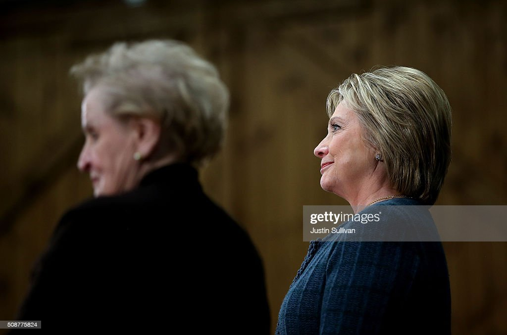 Democratic presidential candidate former Secretary of State Hillary Clinton (R) looks on with former Secretary of State Madeleine Albright (L) during a get out the vote organizing event at Rundlett Middle School on February 6, 2016 in Concord, New Hampshire. With less than one week to go before the New Hampshire primaries, Hillary Clinton continues to campaign throughout the state.