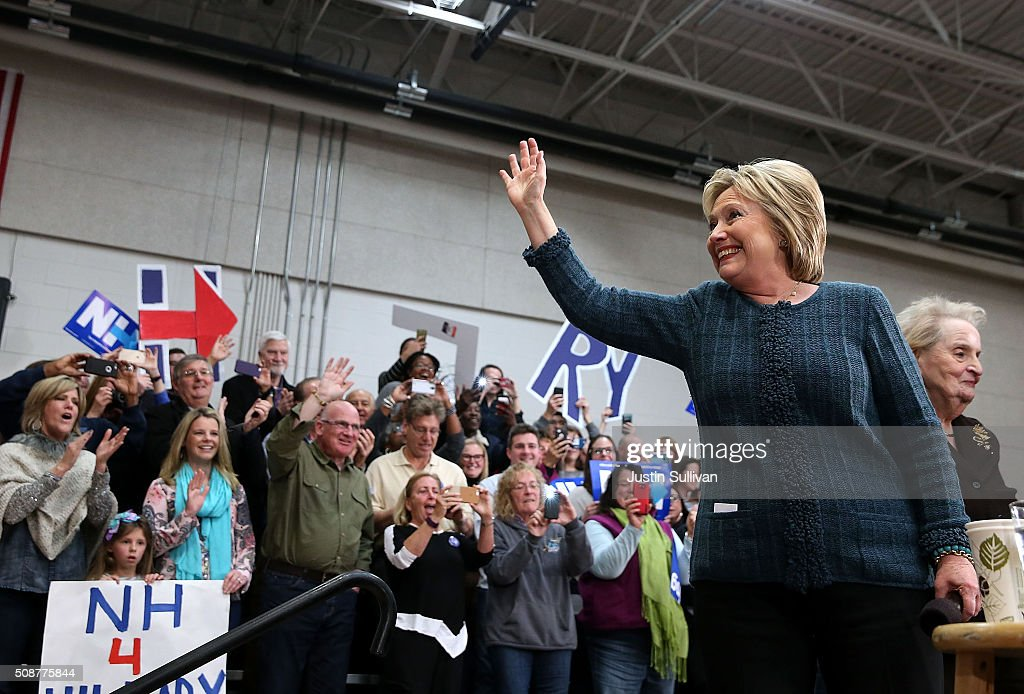 Democratic presidential candidate former Secretary of State Hillary Clinton greets supporters during a get out the vote organizing event at Rundlett Middle School on February 6, 2016 in Concord, New Hampshire. With less than one week to go before the New Hampshire primaries, Hillary Clinton continues to campaign throughout the state.