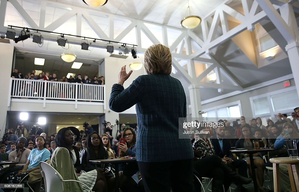 Democratic presidential candidate former Secretary of State <a gi-track='captionPersonalityLinkClicked' href=/galleries/search?phrase=Hillary+Clinton&family=editorial&specificpeople=76480 ng-click='$event.stopPropagation()'>Hillary Clinton</a> speaks during a student town hall meeting at New England College on February 6, 2016 in Henniker, New Hampshire. With less than one week to go before the New Hampshire primaries, <a gi-track='captionPersonalityLinkClicked' href=/galleries/search?phrase=Hillary+Clinton&family=editorial&specificpeople=76480 ng-click='$event.stopPropagation()'>Hillary Clinton</a> continues to campaign throughout the state.