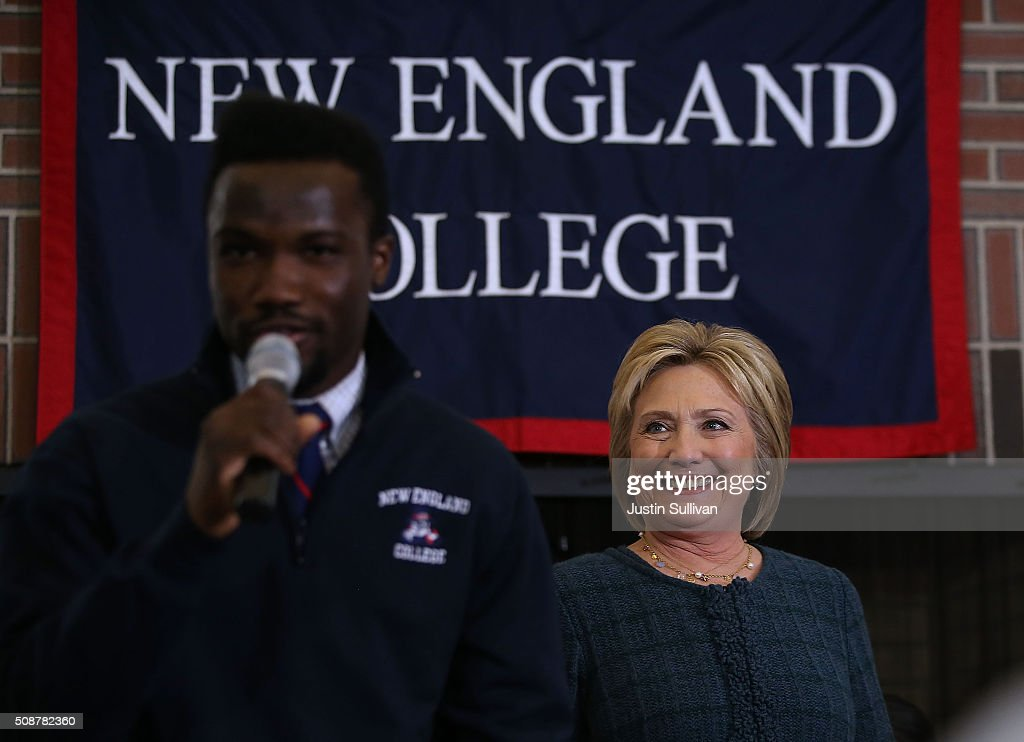 Democratic Presidential candidate former Secretary of State <a gi-track='captionPersonalityLinkClicked' href=/galleries/search?phrase=Hillary+Clinton&family=editorial&specificpeople=76480 ng-click='$event.stopPropagation()'>Hillary Clinton</a> looks on as she is introduced during a student town hall meeting at New England College on February 6, 2016 in Henniker, New Hampshire. With less than one week to go before the New Hampshire primaries, <a gi-track='captionPersonalityLinkClicked' href=/galleries/search?phrase=Hillary+Clinton&family=editorial&specificpeople=76480 ng-click='$event.stopPropagation()'>Hillary Clinton</a> continues to campaign throughout the state.