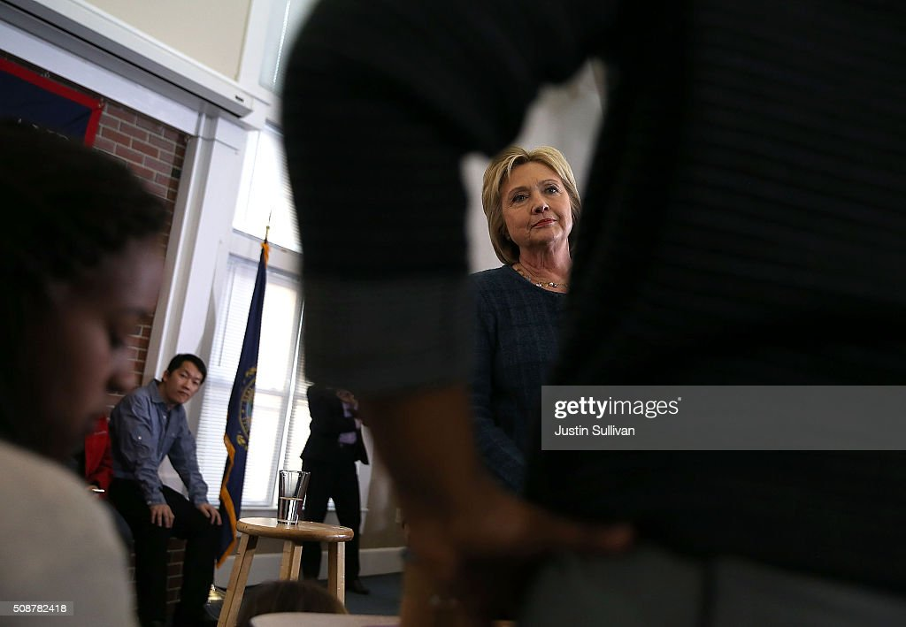 Democratic Presidential candidate former Secretary of State <a gi-track='captionPersonalityLinkClicked' href=/galleries/search?phrase=Hillary+Clinton&family=editorial&specificpeople=76480 ng-click='$event.stopPropagation()'>Hillary Clinton</a> looks on as she fields a question during a student town hall meeting at New England College on February 6, 2016 in Henniker, New Hampshire. With less than one week to go before the New Hampshire primaries, <a gi-track='captionPersonalityLinkClicked' href=/galleries/search?phrase=Hillary+Clinton&family=editorial&specificpeople=76480 ng-click='$event.stopPropagation()'>Hillary Clinton</a> continues to campaign throughout the state.