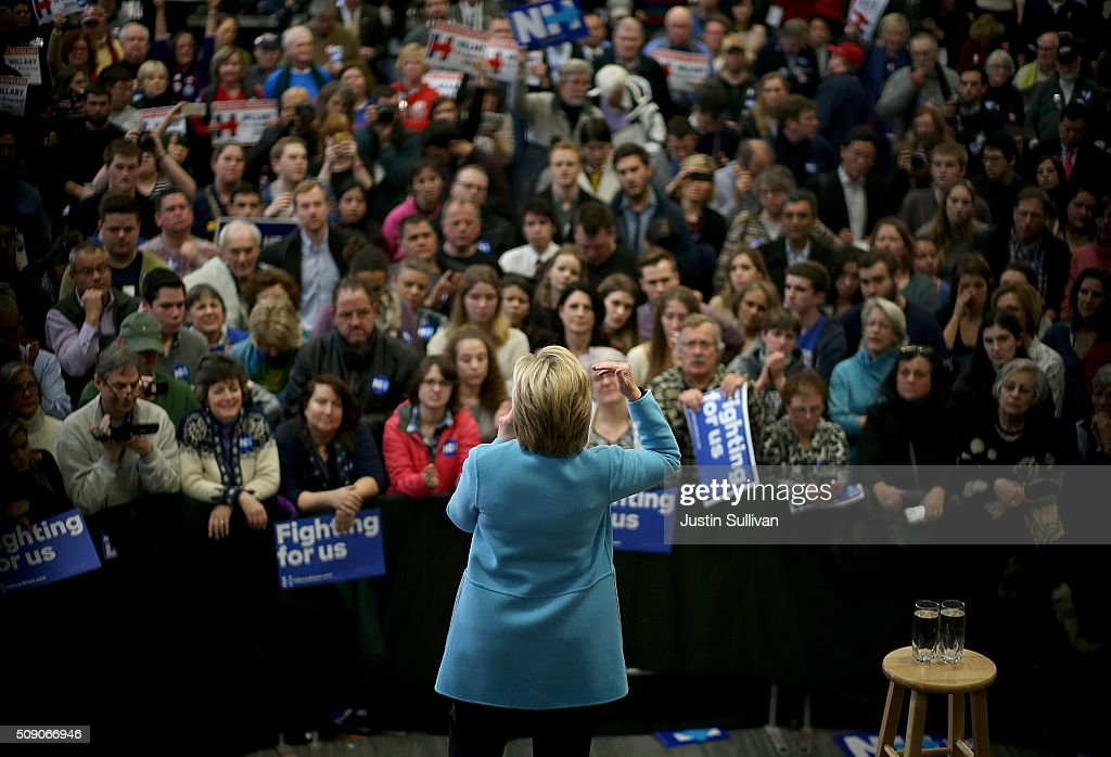 Democratic presidential candidate former Secretary of State Hillary Clinton speaks during a 'Get Out The Vote Clinton Family Event' at Manchester Community College on February 8, 2016 in Manchester, New Hampshire. With one day to go before the New Hampshire primaries, Hillary Clinton continues to campaign throughout the state.