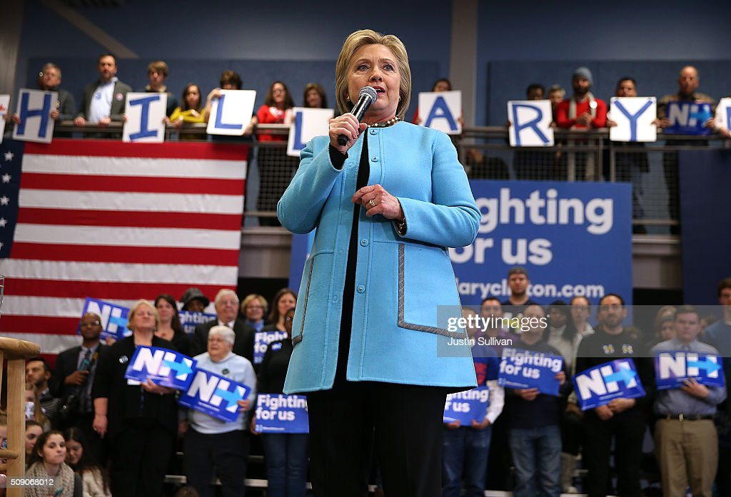 Democratic presidential candidate former Secretary of State Hillary Clinton speaks during a 'Get Out The Vote Clinton Family Event' at Manchester...