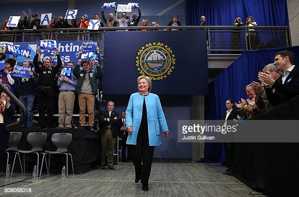 Democratic presidential candidate former Secretary of State Hillary Clinton arrives at a 'Get Out The Vote Clinton Family Event' at Manchester...