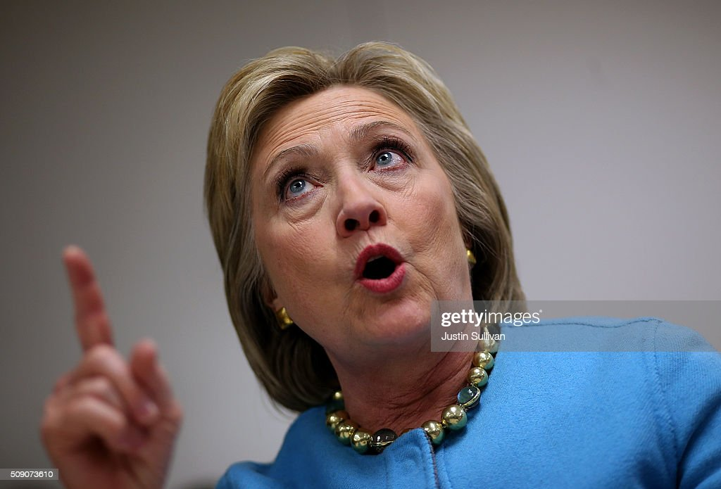 Democratic presidential candidate former Secretary of State Hillary Clinton meets with employees at Velcro Companies on February 8, 2016 in Manchester, New Hampshire. With one day to go before the New Hampshire primaries, Hillary Clinton continues to campaign throughout the state.