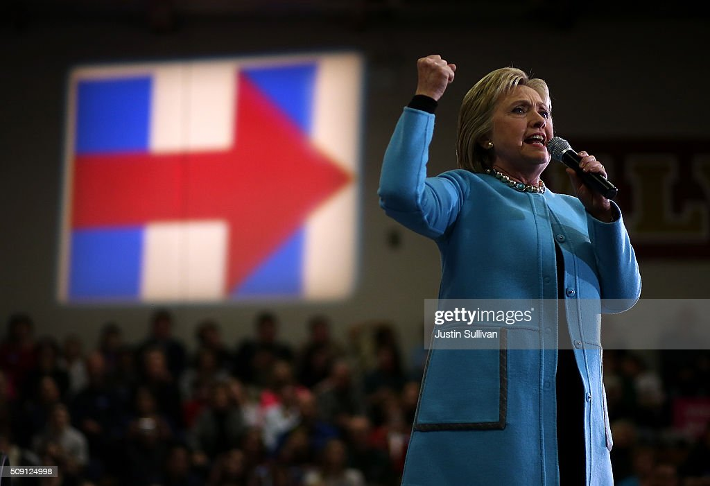 Democratic presidential candidate former Secretary of State <a gi-track='captionPersonalityLinkClicked' href=/galleries/search?phrase=Hillary+Clinton&family=editorial&specificpeople=76480 ng-click='$event.stopPropagation()'>Hillary Clinton</a> speaks during a 'Get Out The Vote' event at Alvime High School on February 8, 2016 in Hudson, New Hampshire. With one day to go before the New Hampshire primaries, <a gi-track='captionPersonalityLinkClicked' href=/galleries/search?phrase=Hillary+Clinton&family=editorial&specificpeople=76480 ng-click='$event.stopPropagation()'>Hillary Clinton</a> continues to campaign throughout the state.