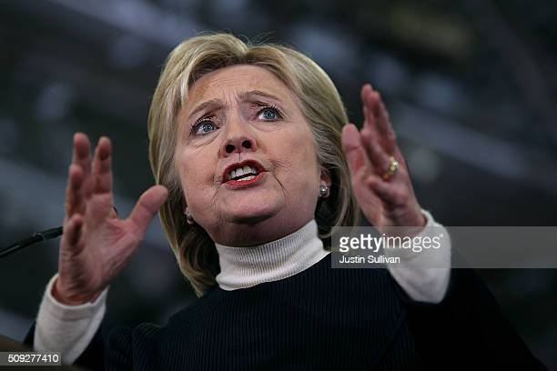 Democratic presidential candidate former Secretary of State Hillary Clinton speaks at her primary night gathering at Southern New Hampshire...