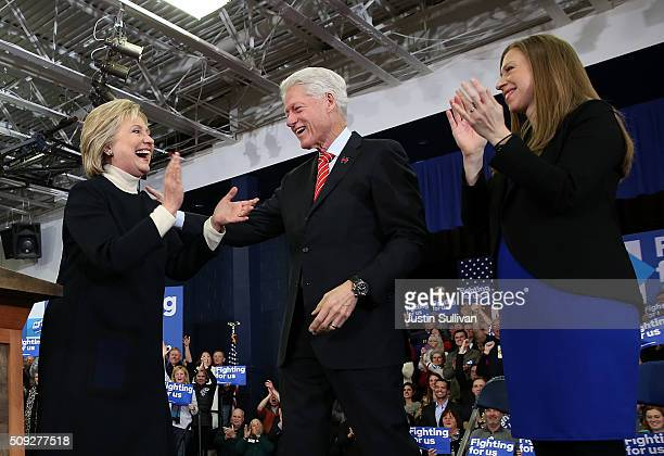 Democratic presidential candidate former Secretary of State Hillary Clinton arrives for her primary night gathering with daughter Chelsea Clinton and...