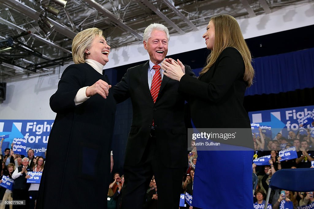 Democratic presidential candidate, former Secretary of State <a gi-track='captionPersonalityLinkClicked' href=/galleries/search?phrase=Hillary+Clinton&family=editorial&specificpeople=76480 ng-click='$event.stopPropagation()'>Hillary Clinton</a> arrives for her primary night gathering with daughter <a gi-track='captionPersonalityLinkClicked' href=/galleries/search?phrase=Chelsea+Clinton&family=editorial&specificpeople=119698 ng-click='$event.stopPropagation()'>Chelsea Clinton</a> and husband, former President <a gi-track='captionPersonalityLinkClicked' href=/galleries/search?phrase=Bill+Clinton&family=editorial&specificpeople=67203 ng-click='$event.stopPropagation()'>Bill Clinton</a> at Southern New Hampshire University on February 9, 2016 in Hooksett, New Hampshire. Rival Sen. Bernie Sanders (D-VT) was projected the winner shortly after the polls closed.