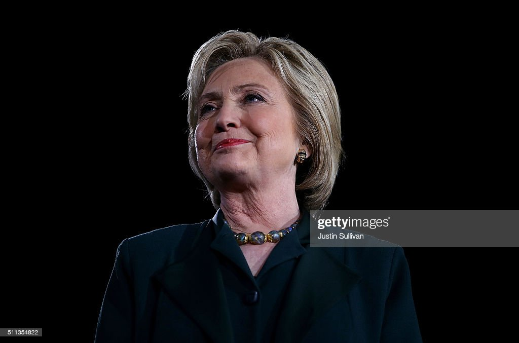 Democratic presidential candidate former Secretary of State <a gi-track='captionPersonalityLinkClicked' href=/galleries/search?phrase=Hillary+Clinton&family=editorial&specificpeople=76480 ng-click='$event.stopPropagation()'>Hillary Clinton</a> looks on during a 'Get Out The Caucus' at the Clark County Government Center on February 19, 2016 in Las Vegas, Nevada. With one day to go before the Democratic caucuses in Nevada, <a gi-track='captionPersonalityLinkClicked' href=/galleries/search?phrase=Hillary+Clinton&family=editorial&specificpeople=76480 ng-click='$event.stopPropagation()'>Hillary Clinton</a> is campaigning in Las Vegas.