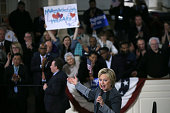 Democratic presidential candidate former Secretary of State Hillary Clinton speaks during a 'Get Out The Vote' event at the Old South Meeting Hall on...