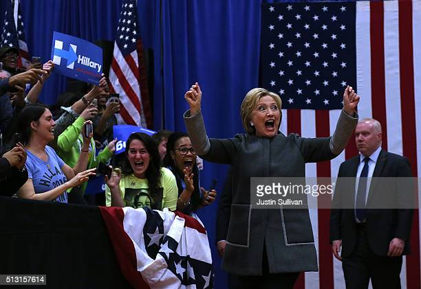 Democratic presidential candidate former Secretary of State Hillary Clinton greets supporters during a 'Get Out The Vote' event at Lake Taylor Senior...