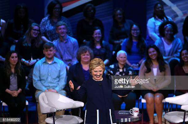 Democratic presidential candidate former Secretary of State Hillary Clinton speaks during the CNN TV One Town Hall on March 13 2016 in Columbus Ohio...