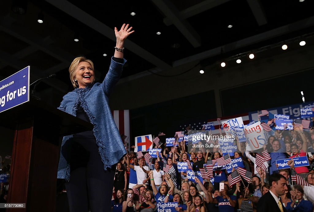 Democratic presidential candidate former Secretary of State Hillary Clinton greets supporters during her primary night gathering on March 15 2016 in...