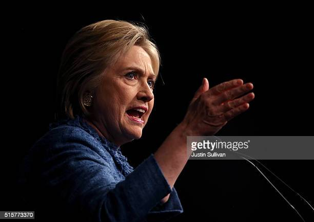 Democratic presidential candidate former Secretary of State Hillary Clinton speaks during her primary night gathering on March 15 2016 in West Palm...