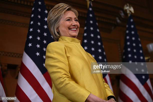 Democratic presidential candidate former Secretary of State Hillary Clinton delivers a counterterrorism address at Stanford University on March 23...
