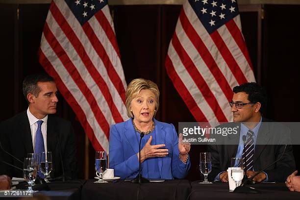 Democratic presidential candidate former Secretary of State Hillary Clinton speaks during a roundtable discussion as Los Angeles mayor Eric Garcetti...
