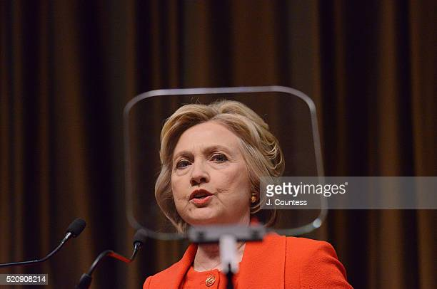 Democratic presidential candidate former Secretary of State Hillary Clinton speaks at the NAN 25th Anniversary National Convention at New York...