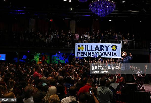 Democratic presidential candidate former Secretary of State Hillary Clinton speaks during a campaign rally at The Fillmore on April 20 2016 in...