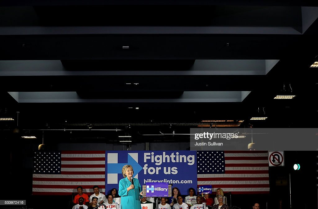 Democratic presidential candidate former Secretary of State <a gi-track='captionPersonalityLinkClicked' href=/galleries/search?phrase=Hillary+Clinton&family=editorial&specificpeople=76480 ng-click='$event.stopPropagation()'>Hillary Clinton</a> speaks during a campaign event on May 24, 2016 in Commerce, California. <a gi-track='captionPersonalityLinkClicked' href=/galleries/search?phrase=Hillary+Clinton&family=editorial&specificpeople=76480 ng-click='$event.stopPropagation()'>Hillary Clinton</a> is campaigning in California ahaed of the State's presidential primary on June 7th.
