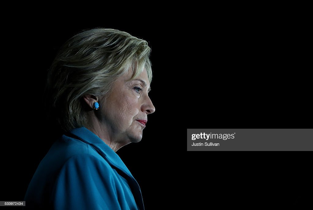 Democratic presidential candidate former Secretary of State Hillary Clinton looks on during a campaign event on May 24, 2016 in Commerce, California. Hillary Clinton is campaigning in California ahaed of the State's presidential primary on June 7th.