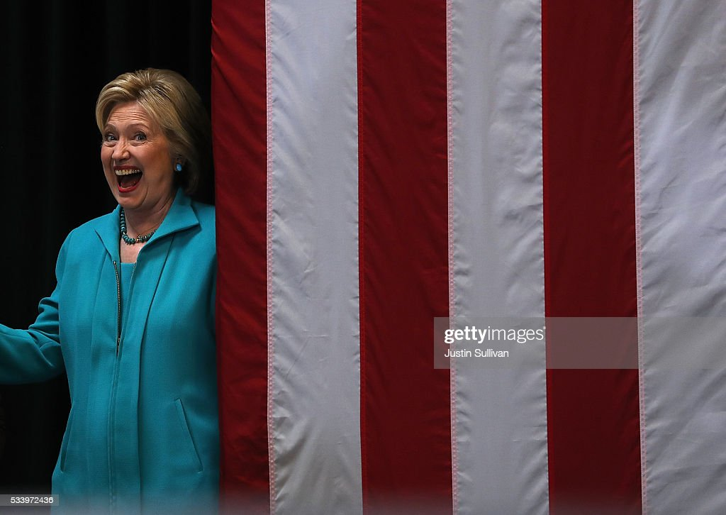 Democratic presidential candidate former Secretary of State Hillary Clinton greets supporters during a campaign event on May 24, 2016 in Commerce, California. Hillary Clinton is campaigning in California ahaed of the State's presidential primary on June 7th.