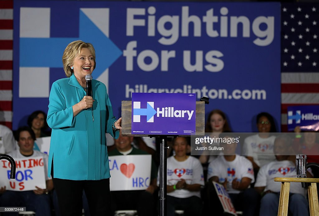 Democratic presidential candidate former Secretary of State Hillary Clinton speaks during a campaign event on May 24, 2016 in Commerce, California. Hillary Clinton is campaigning in California ahaed of the State's presidential primary on June 7th.