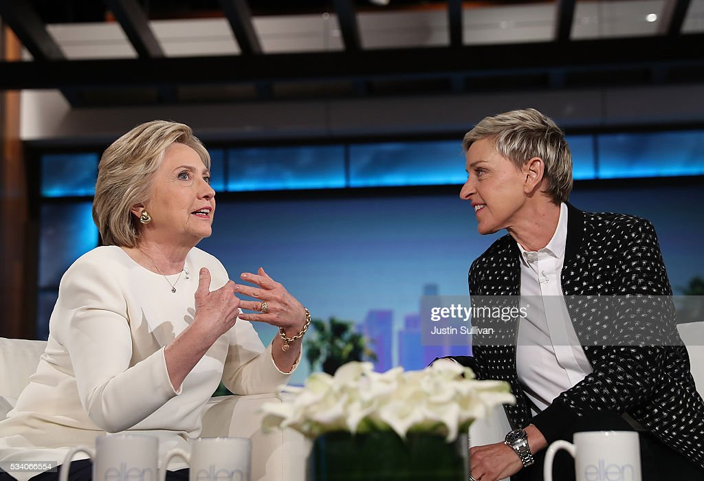 Democratic presidential candidate former Secretary of State <a gi-track='captionPersonalityLinkClicked' href=/galleries/search?phrase=Hillary+Clinton&family=editorial&specificpeople=76480 ng-click='$event.stopPropagation()'>Hillary Clinton</a> (L) talks with Ellen DeGeneres during a taping of The Ellen DeGeneres Show on May 24, 2016 in Burbank, California. <a gi-track='captionPersonalityLinkClicked' href=/galleries/search?phrase=Hillary+Clinton&family=editorial&specificpeople=76480 ng-click='$event.stopPropagation()'>Hillary Clinton</a> is campaigning in California ahaed of the State's presidential primary on June 7th.