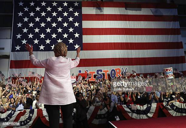 Democratic presidential candidate former Secretary of State Hillary Clinton greets supporters during a primary night event on June 7 2016 in Brooklyn...