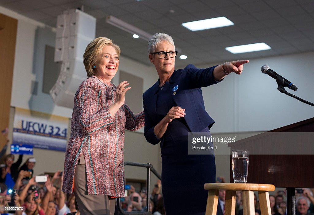 Democratic presidential candidate former Secretary of State Hillary Clinton arrives for a campaign event May 25 2016 in Buena Park CA Actress and...
