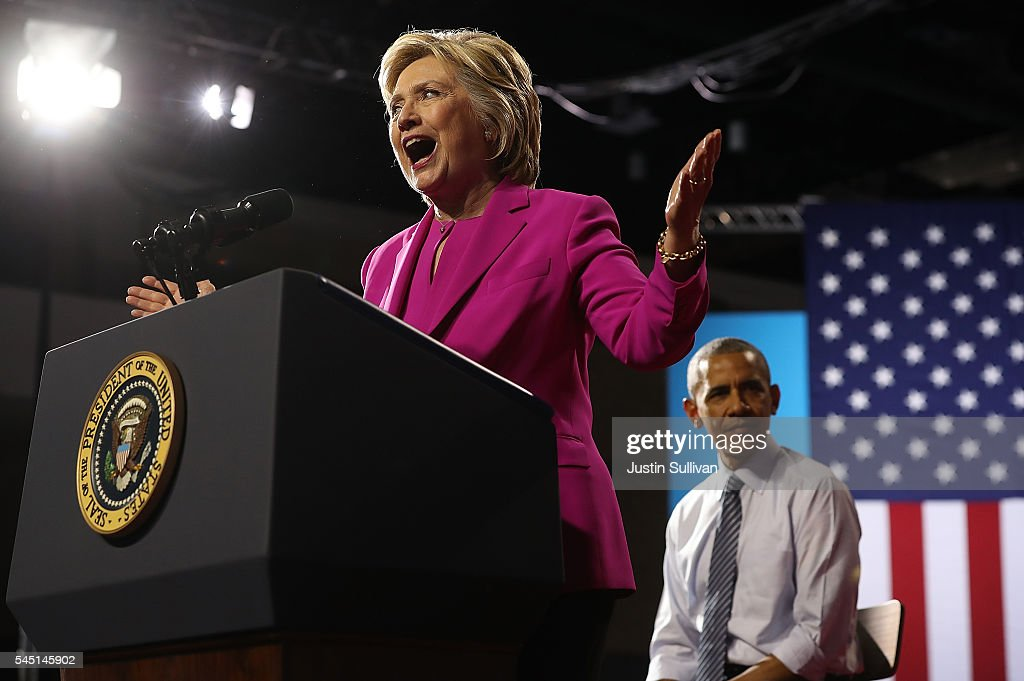 Democratic presidential candidate former Secretary of State Hillary Clinton speaks during a campaign rally with U.S. president Barack Obama on July 5, 2016 in Charlotte, North Carolina. Hillary Clinton is campaigning with president Obama in North Carolina.