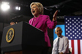 Democratic presidential candidate former Secretary of State Hillary Clinton speaks during a campaign rally with US president Barack Obama on July 5...